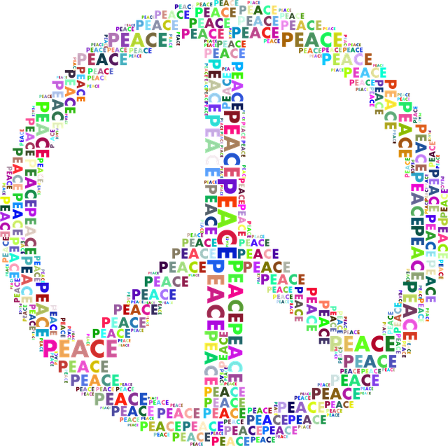 Colorful Peace Sign Typography