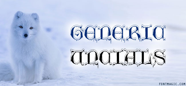 Generic Uncials SnowCapped font graphic with dog