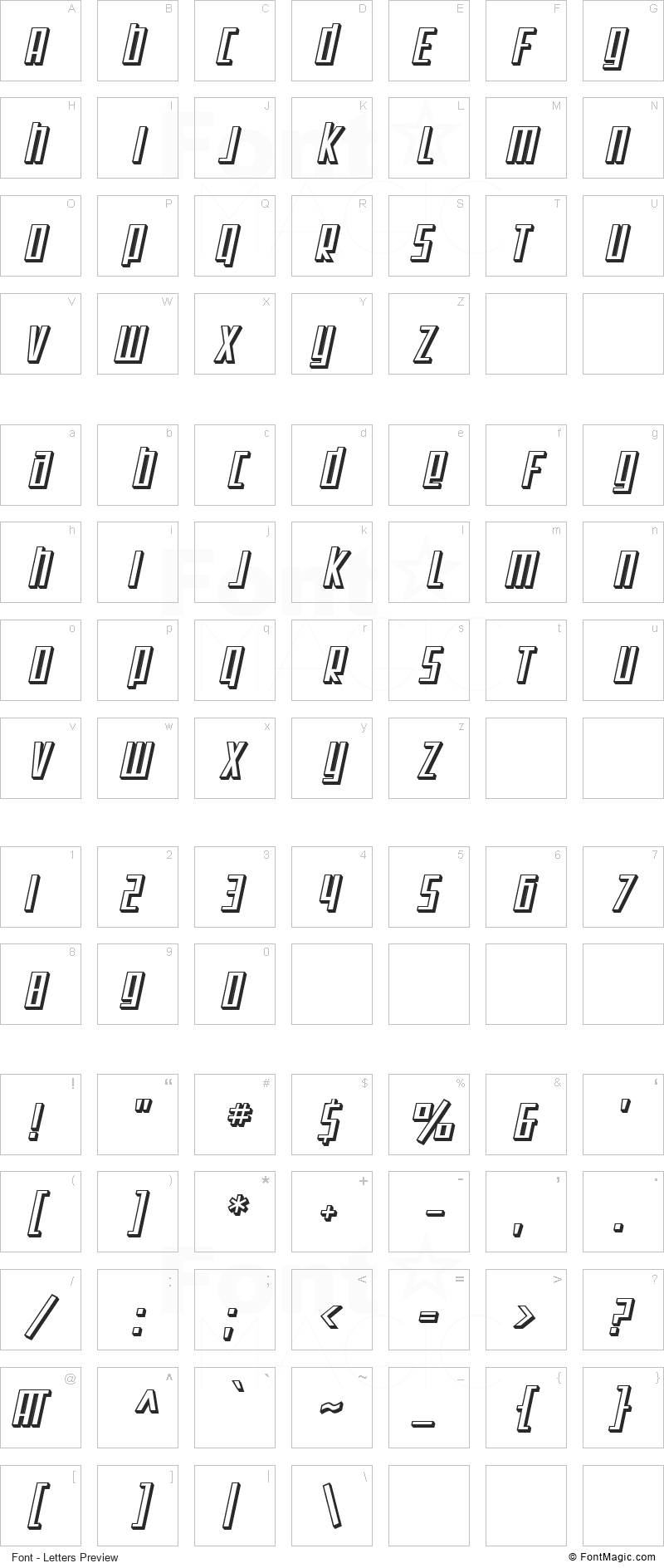 SF Square Root Font - All Latters Preview Chart