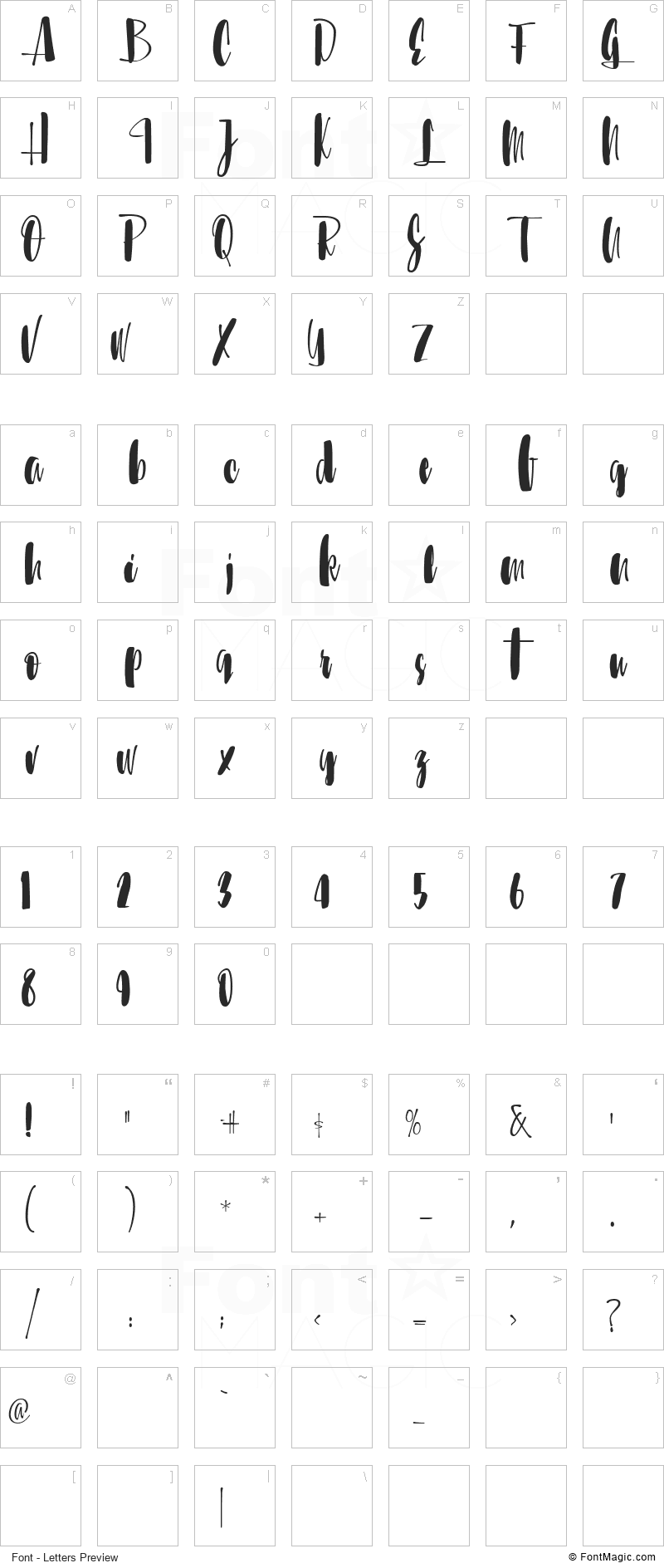 Sunbreath Font - All Latters Preview Chart