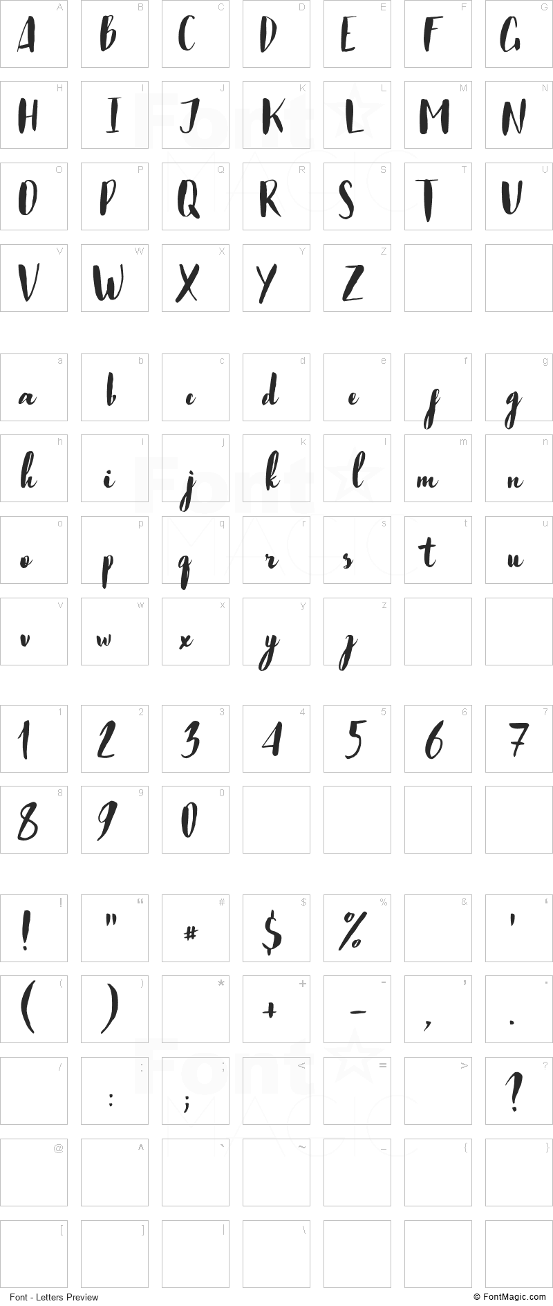 Just Believe Font - All Latters Preview Chart