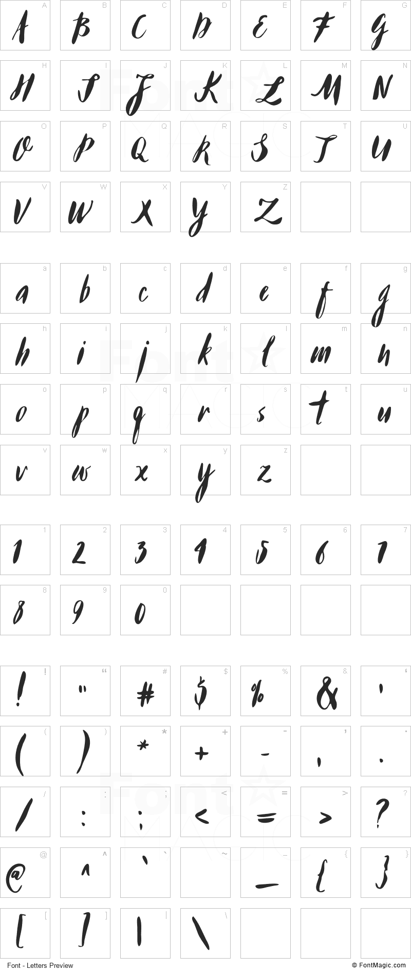 Buffy Font - All Latters Preview Chart