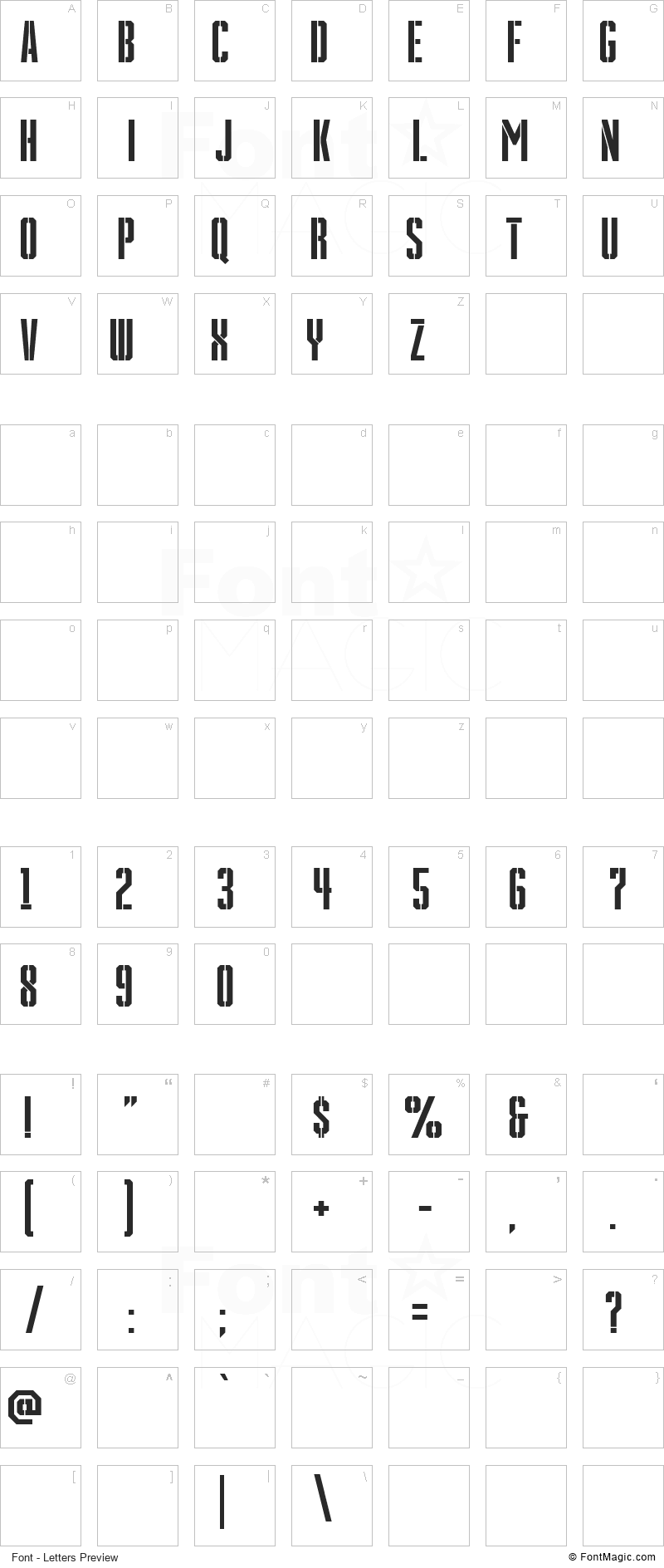 Grenade Stencil Font - All Latters Preview Chart