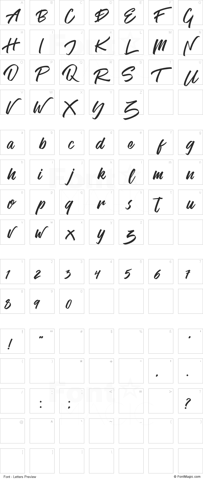 Venetian Font - All Latters Preview Chart