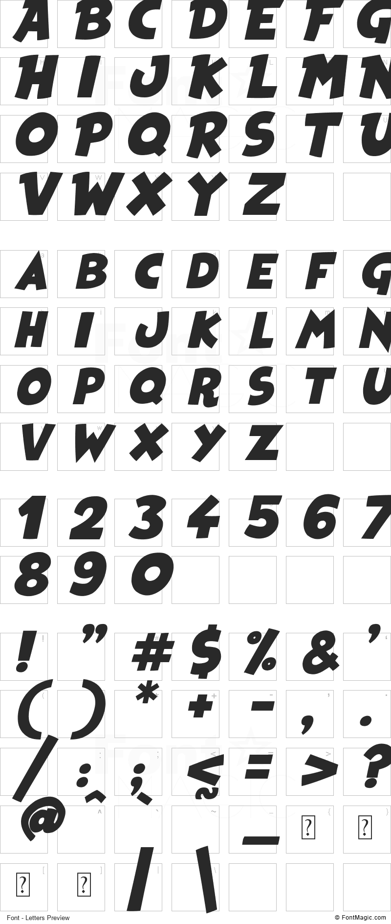 Heroes Legend Font - All Latters Preview Chart