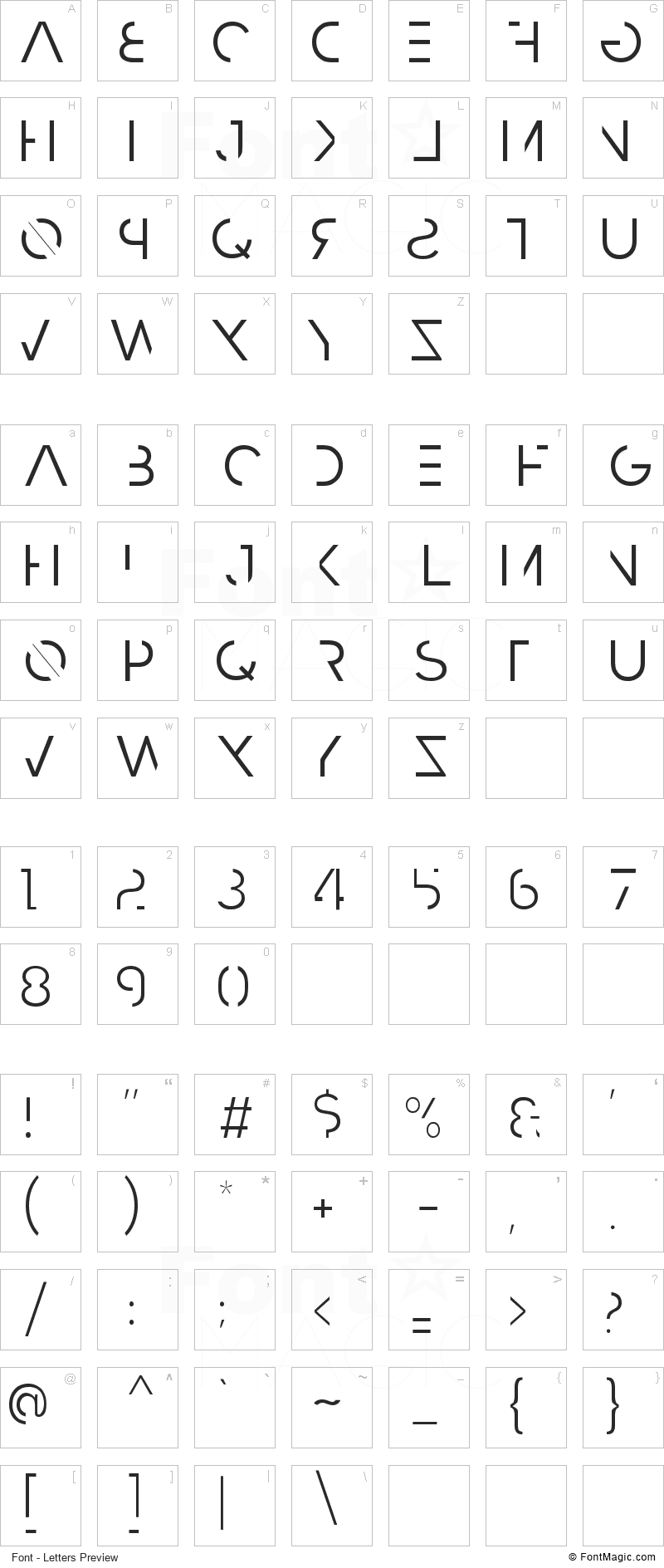Razed Font - All Latters Preview Chart