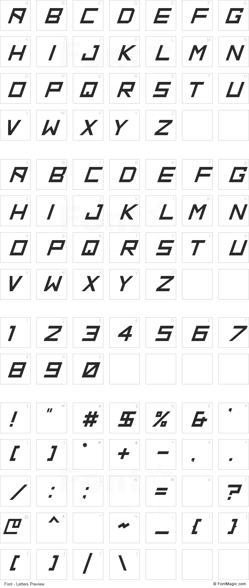 HBM Ridge Font - All Latters Preview Chart