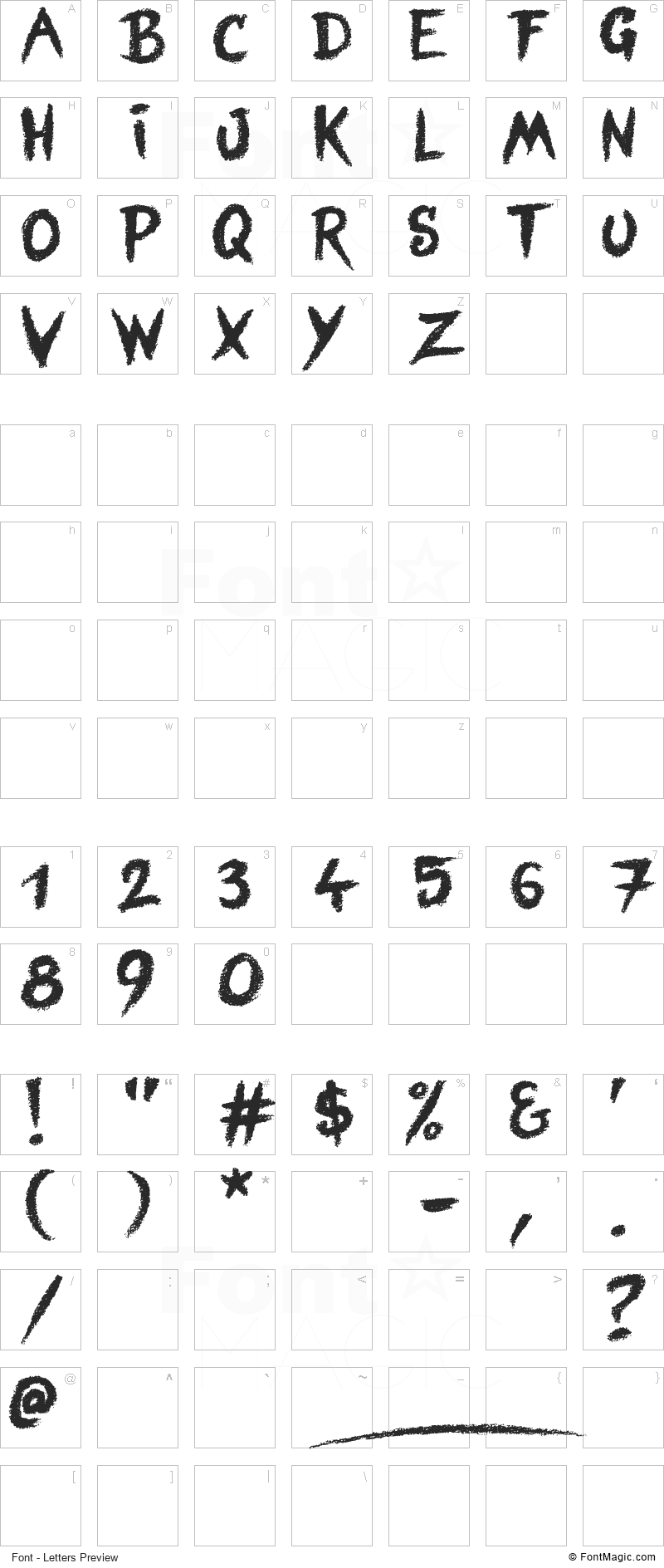 Blind Signature Font - All Latters Preview Chart