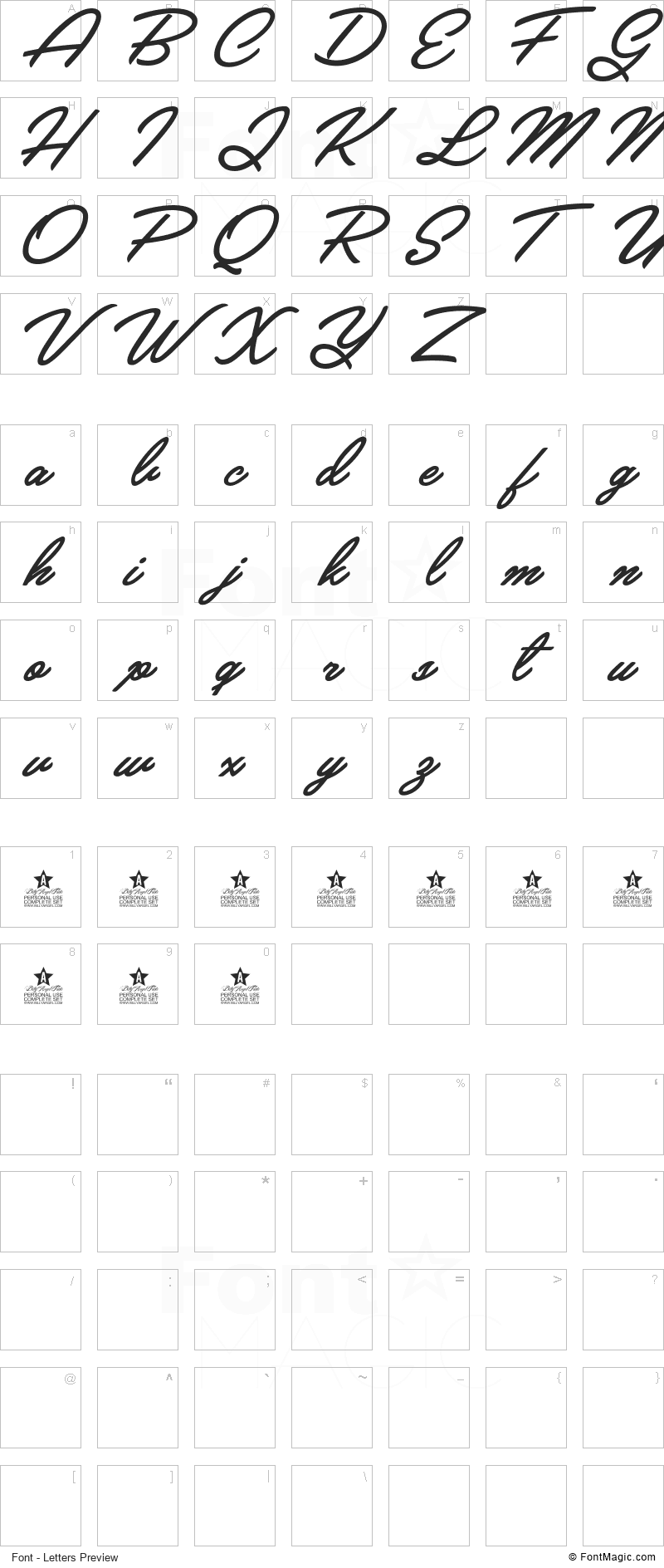 Crystal Font - All Latters Preview Chart