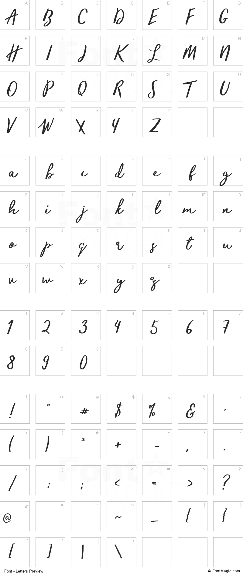 Trendsetter Font - All Latters Preview Chart