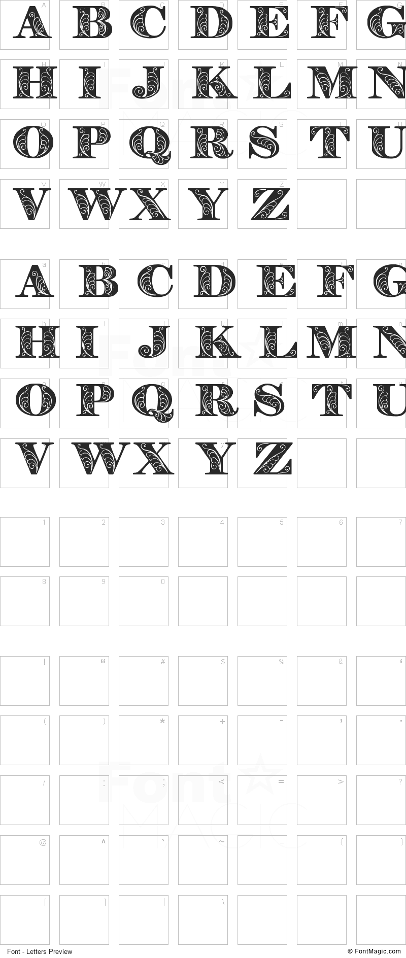 Zenone Font - All Latters Preview Chart