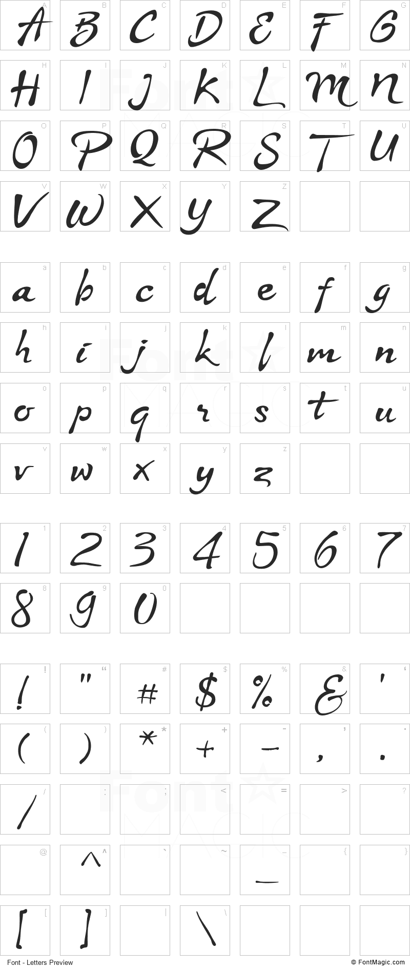 Stya Font - All Latters Preview Chart