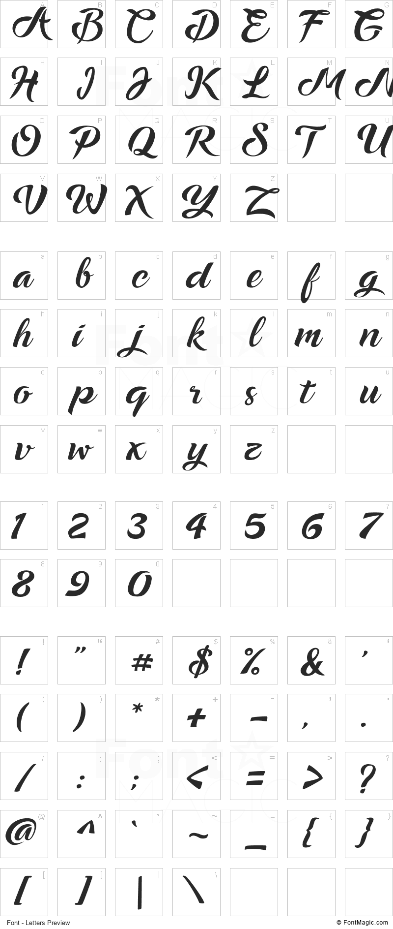 Ampera Font - All Latters Preview Chart