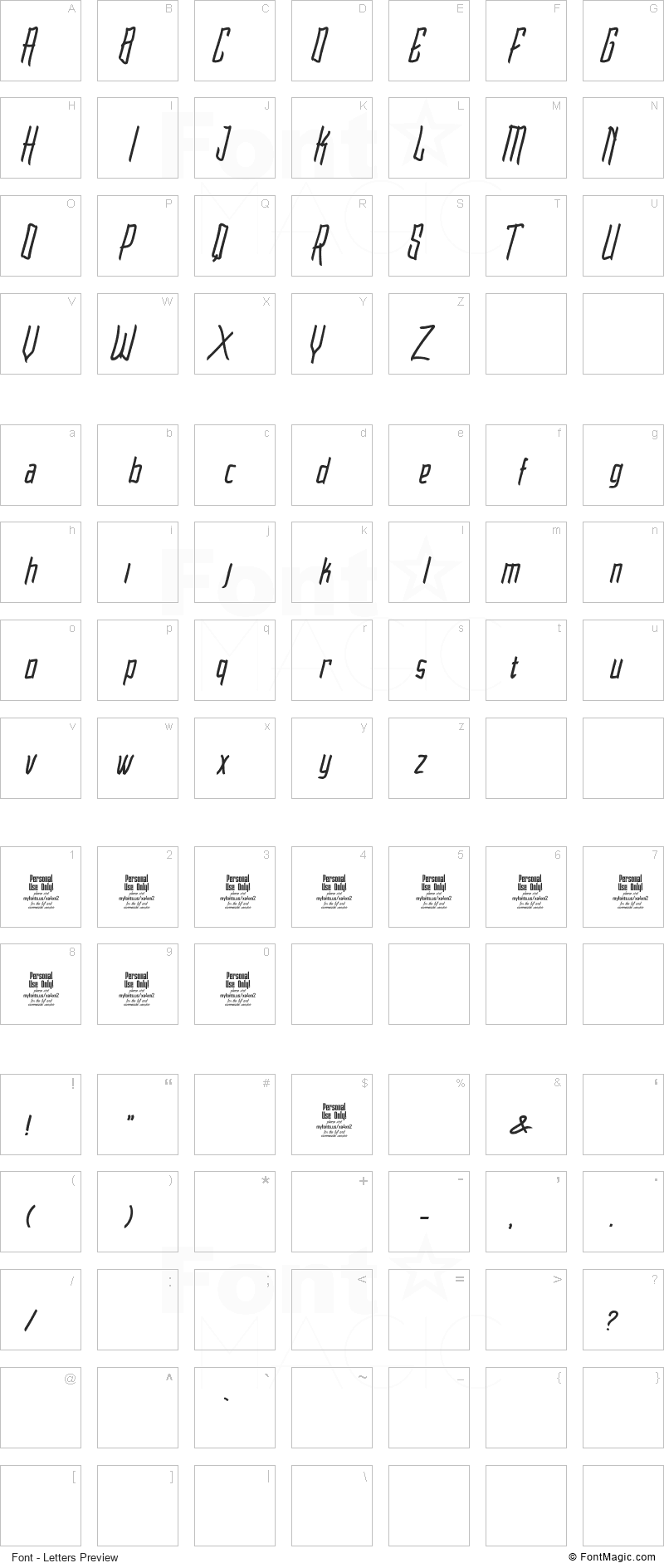 Raimoo Font - All Latters Preview Chart