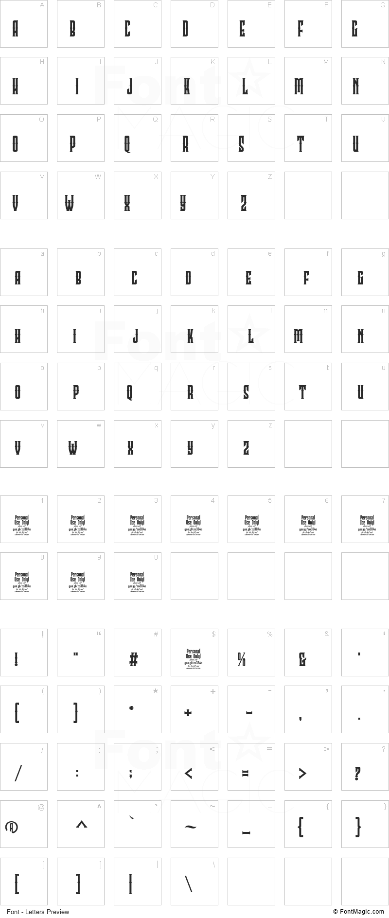 Clobot Font - All Latters Preview Chart