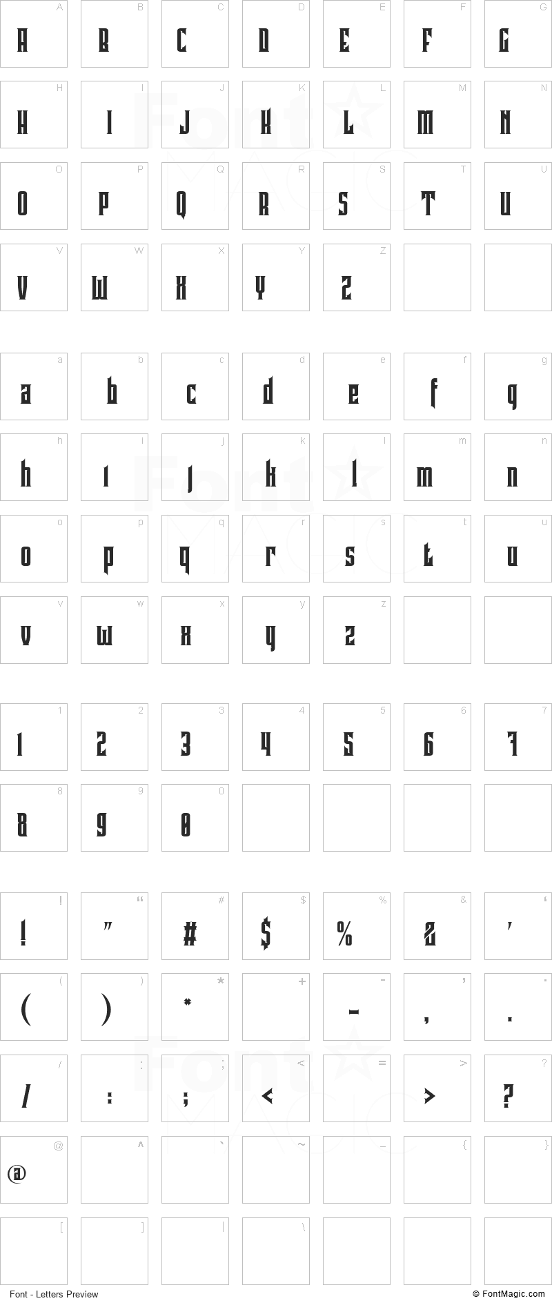 Pindunk Font - All Latters Preview Chart