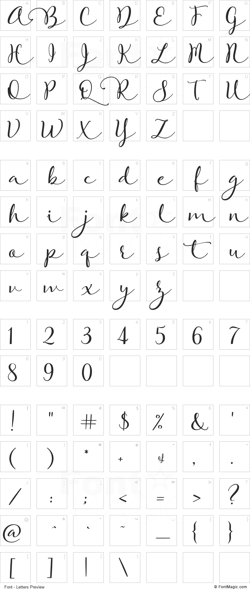 Rose Of Baltimore Font - All Latters Preview Chart