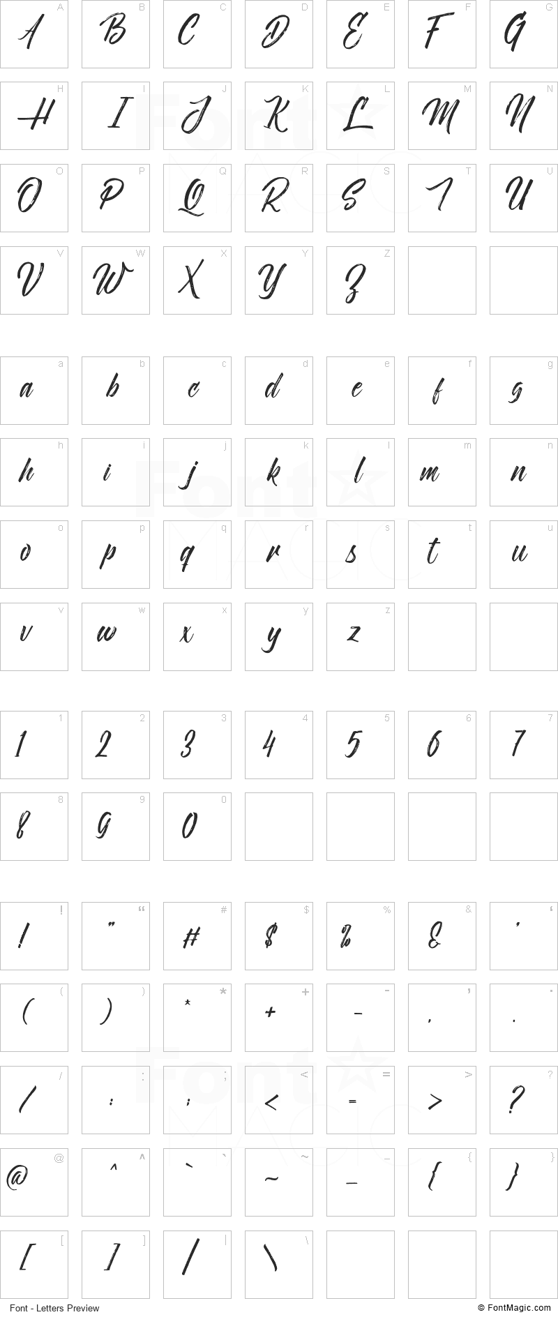 Novitha Script Font - All Latters Preview Chart