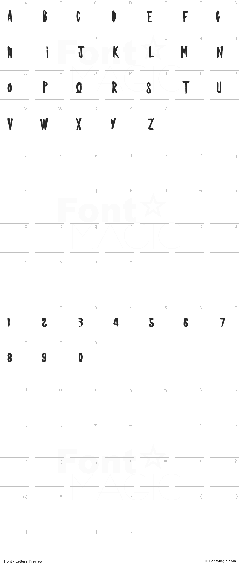 Jackyshow Font - All Latters Preview Chart