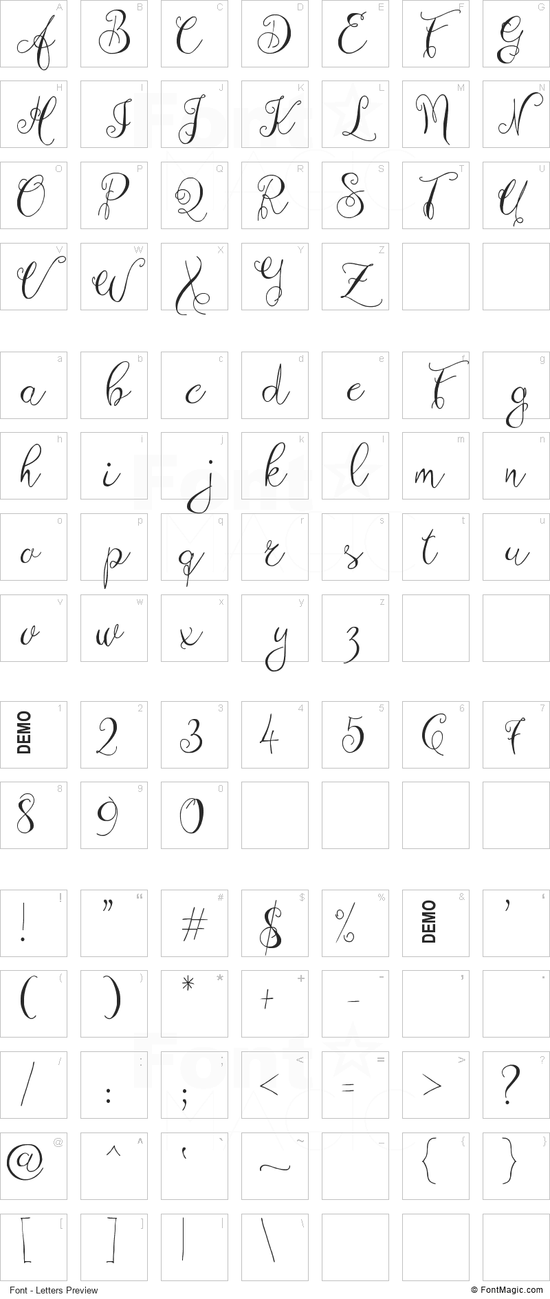Zenyth Font - All Latters Preview Chart