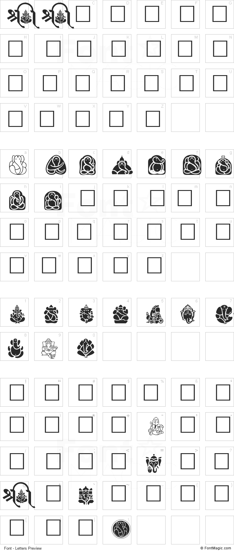 AclGanpatiSymbols Font - All Latters Preview Chart