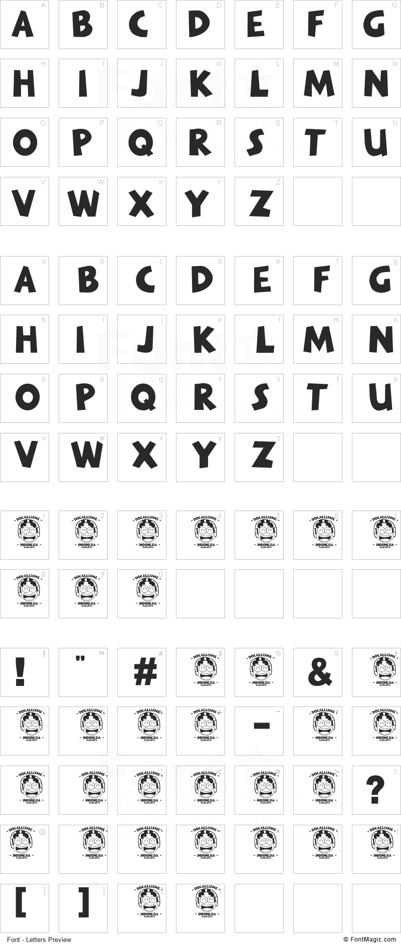 The Minion Font - All Latters Preview Chart
