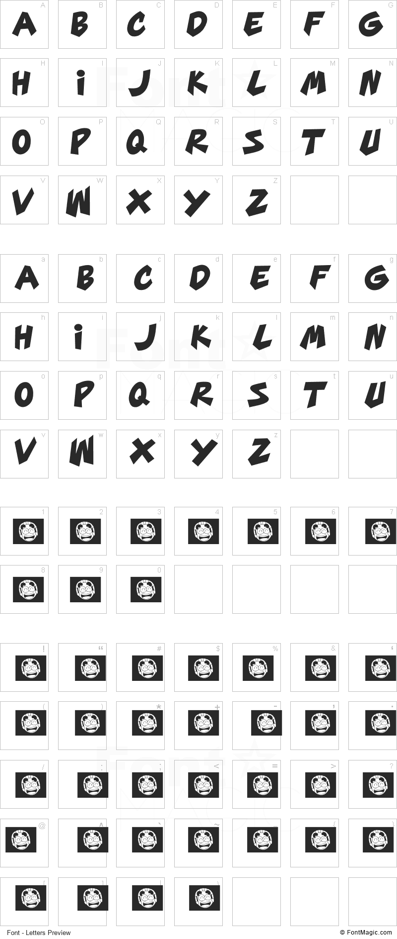 Mars Mellow Font - All Latters Preview Chart