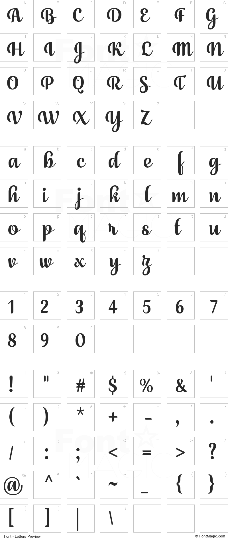 July Seventh Font - All Latters Preview Chart