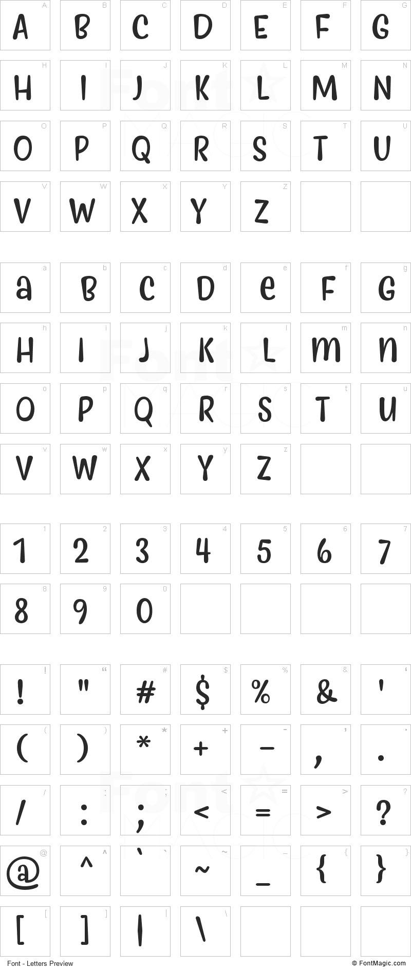 Myfrida Font - All Latters Preview Chart