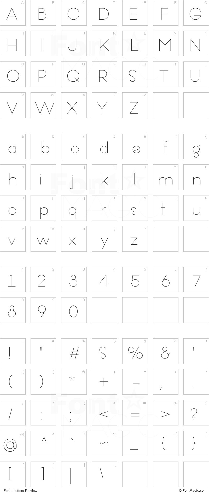 Offerings Font - All Latters Preview Chart