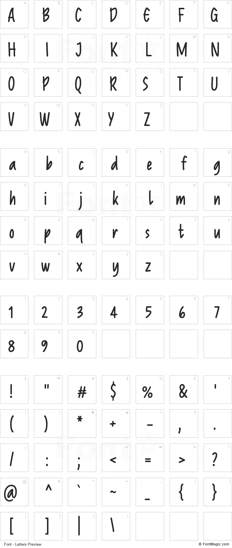 Reprineato Font - All Latters Preview Chart