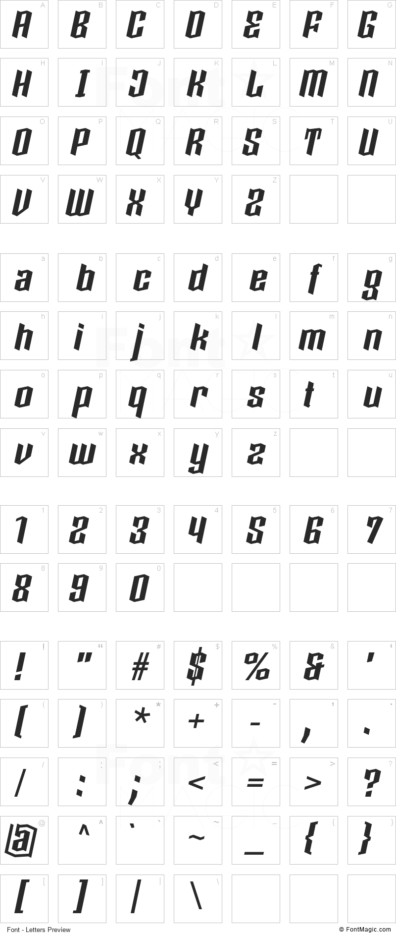 Boxise Font - All Latters Preview Chart