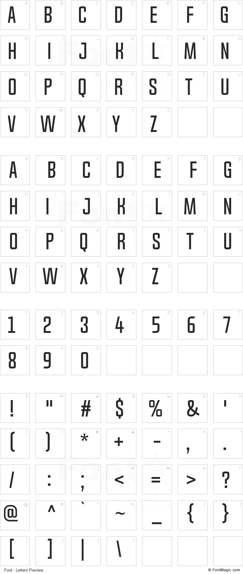 Chosence Font - All Latters Preview Chart