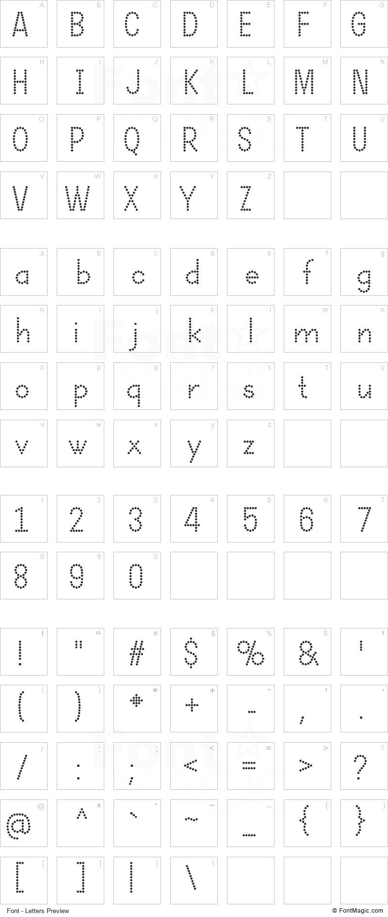 Dotcirful Font - All Latters Preview Chart