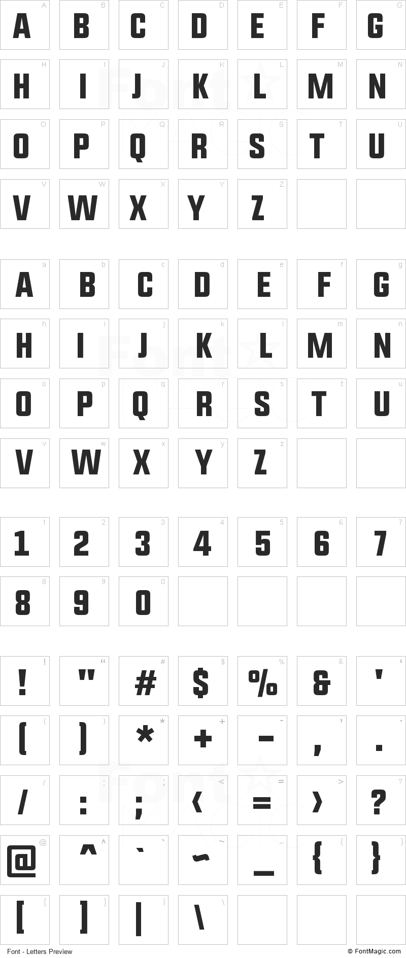 Upbolters Font - All Latters Preview Chart
