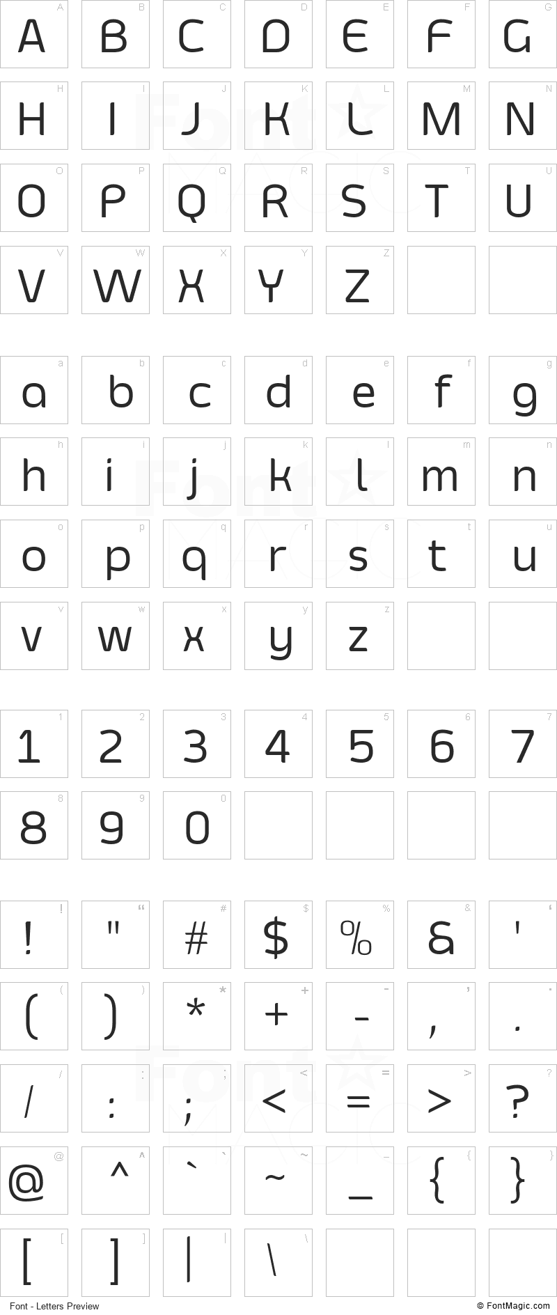 Smoolthan Font - All Latters Preview Chart