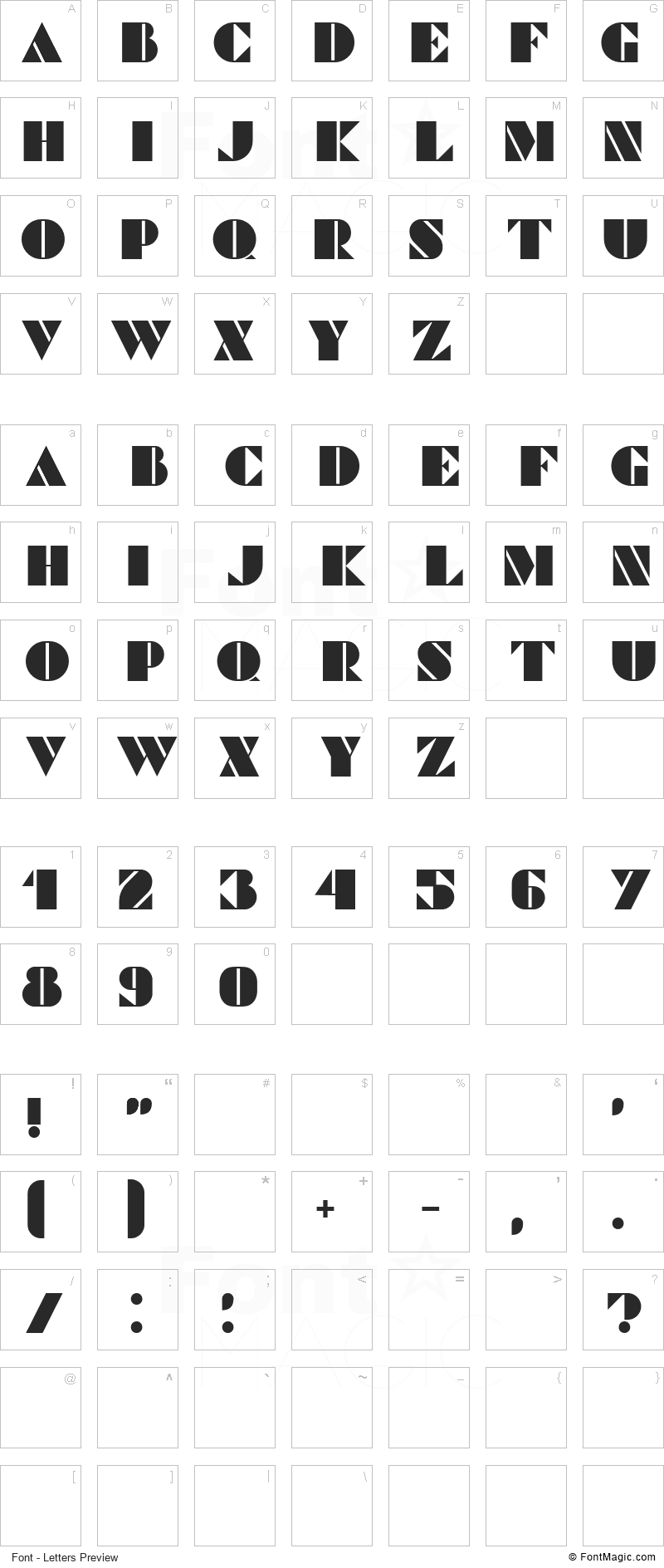 Commanders Font - All Latters Preview Chart