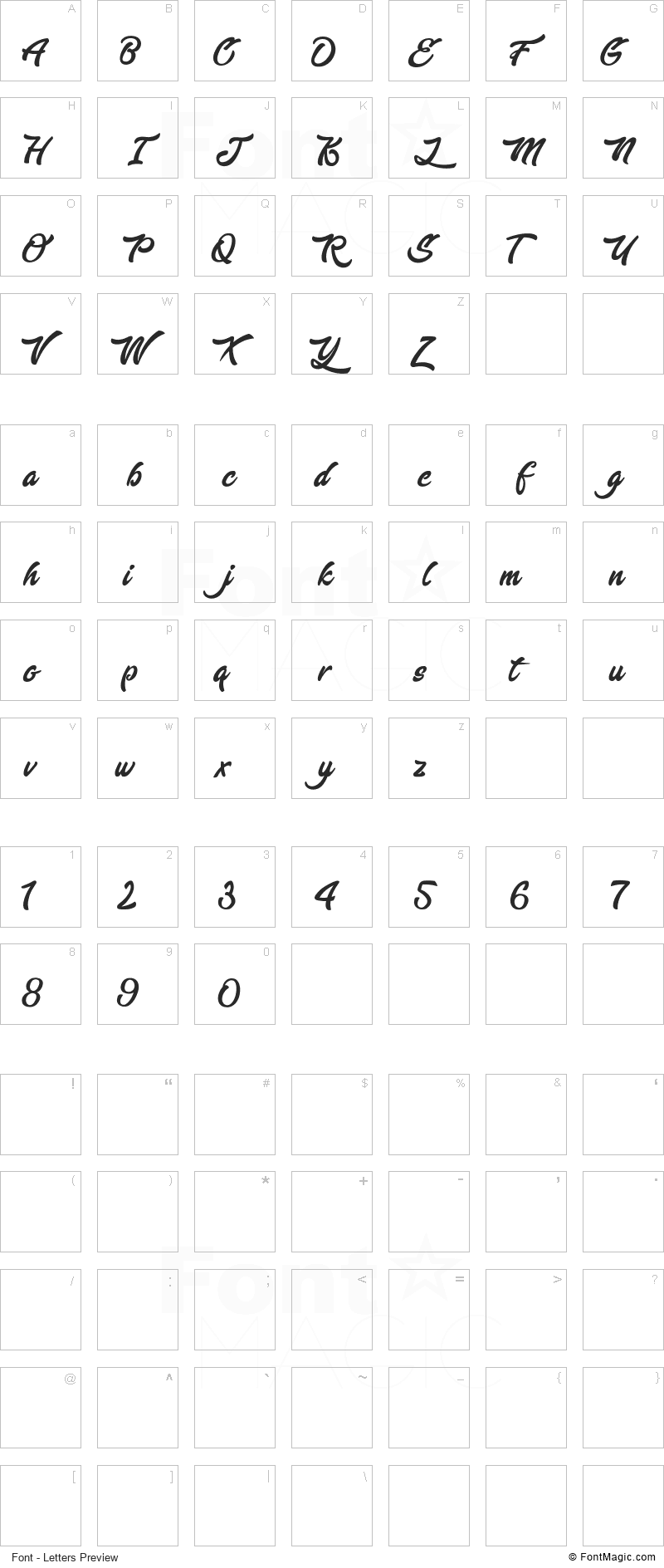 Enlighten your Destiny Font - All Latters Preview Chart