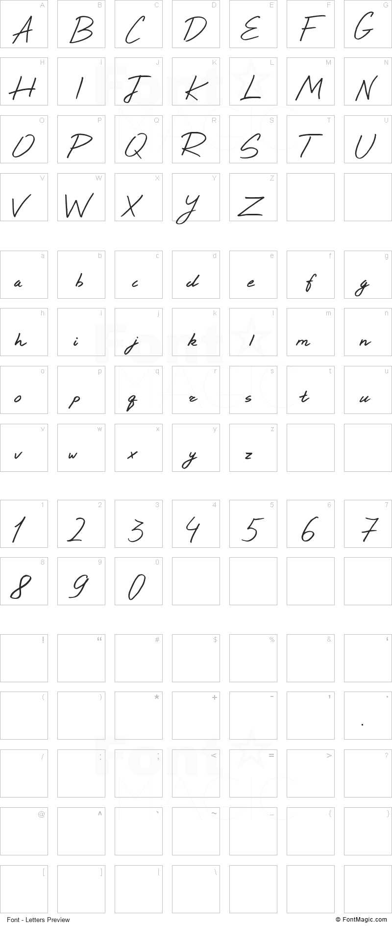 Epic Ride Font - All Latters Preview Chart
