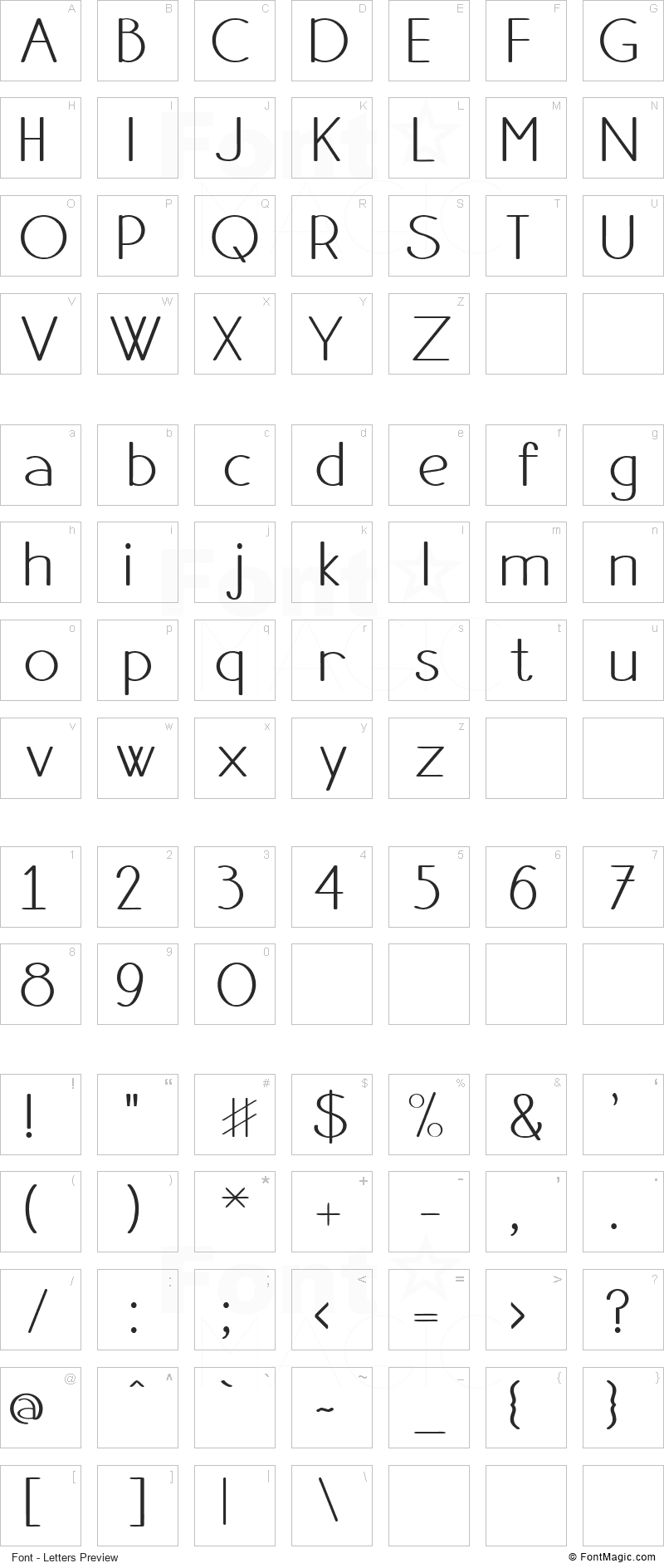 Danae Font - All Latters Preview Chart