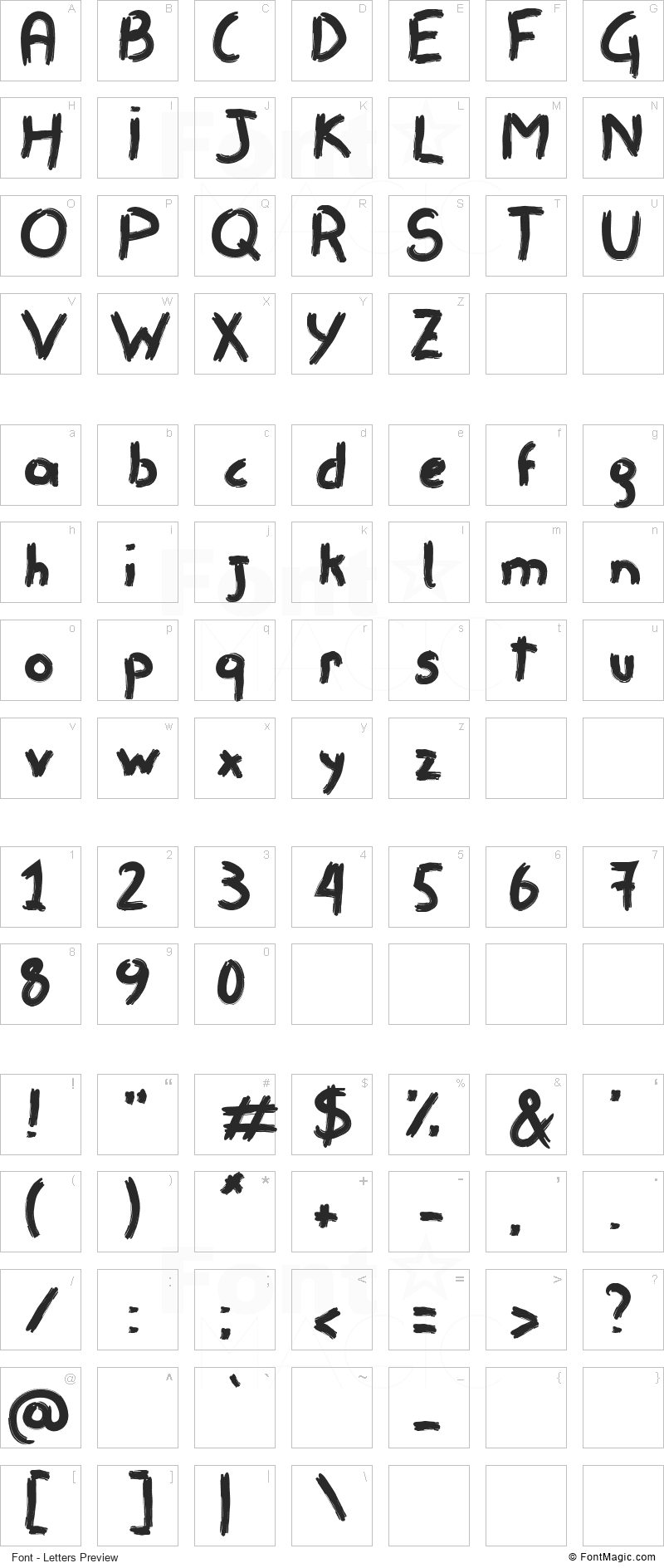 Remisso Font - All Latters Preview Chart