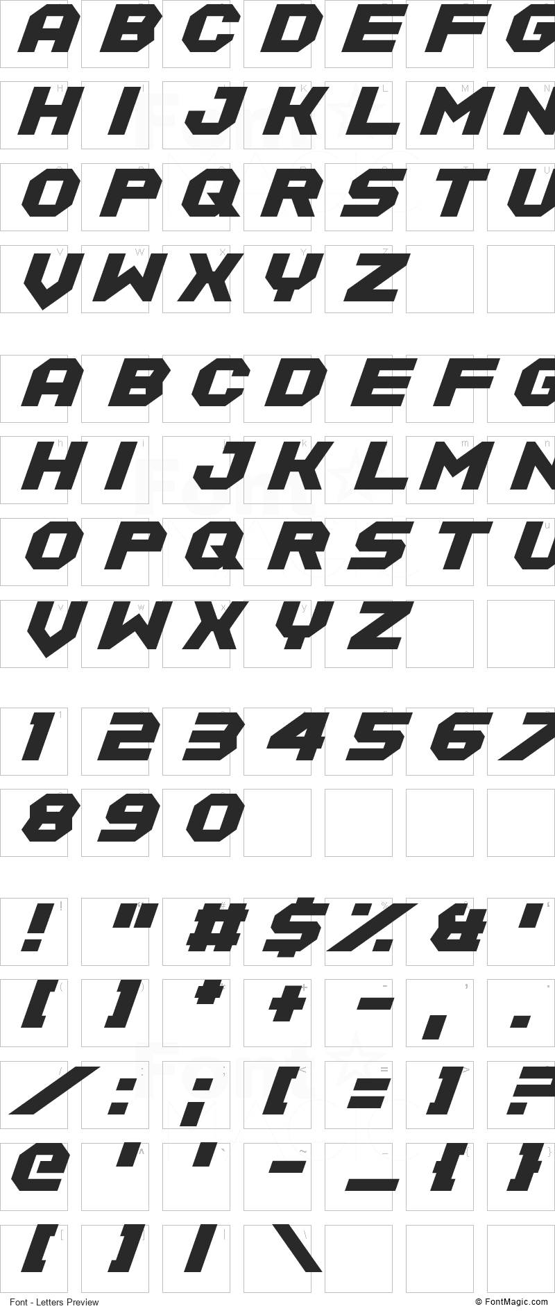 Equalize Font - All Latters Preview Chart