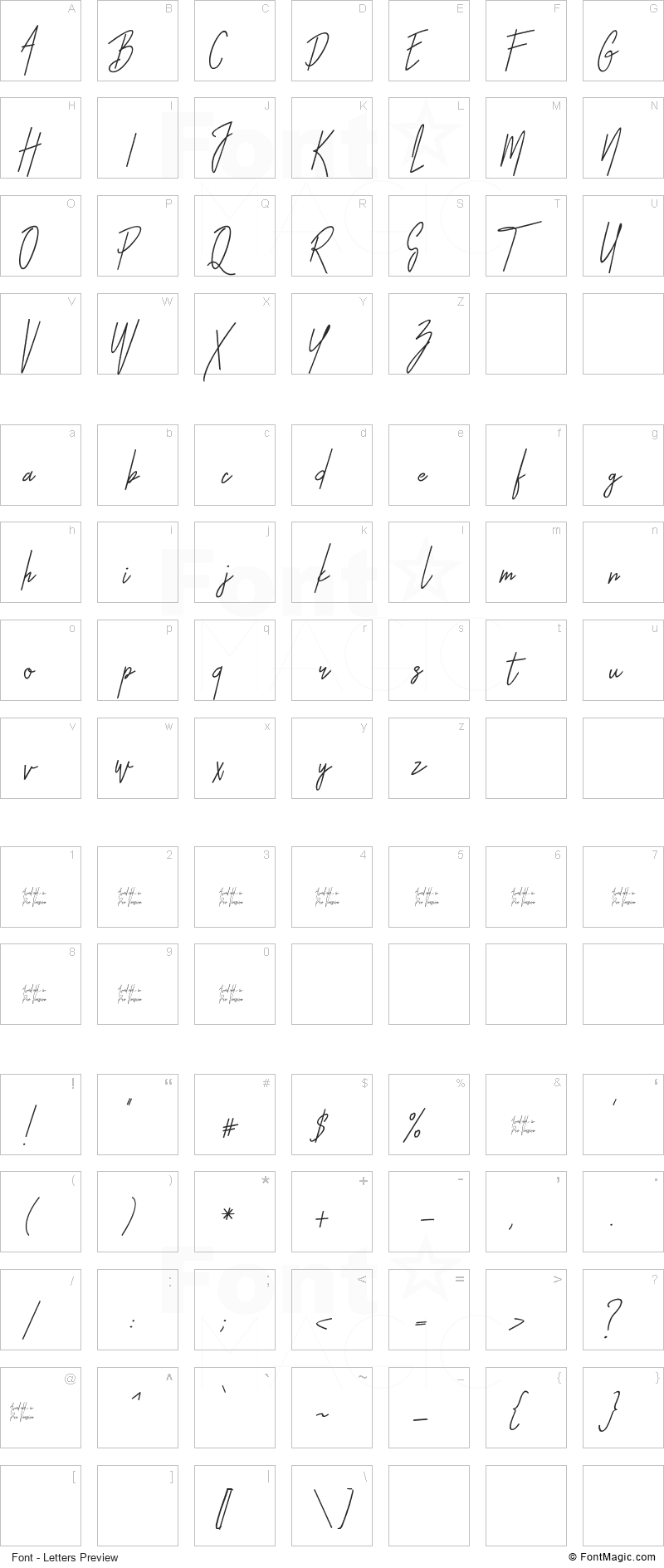 Otella Font - All Latters Preview Chart