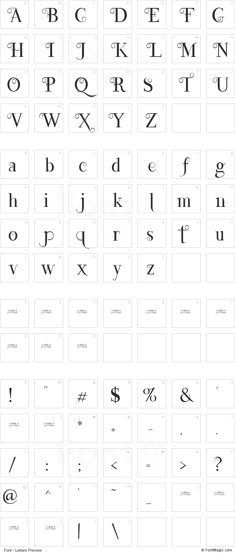 Lefina Font - All Latters Preview Chart