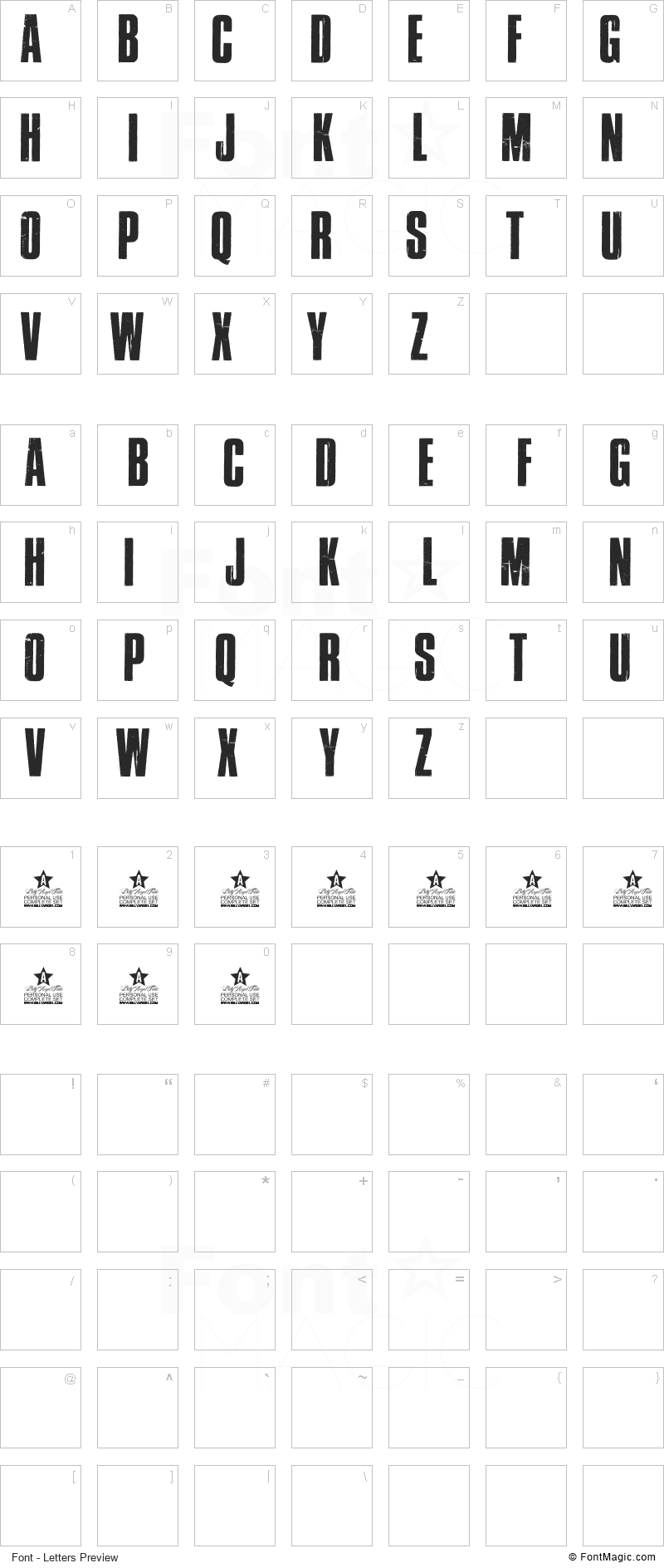 Cross Town Font - All Latters Preview Chart