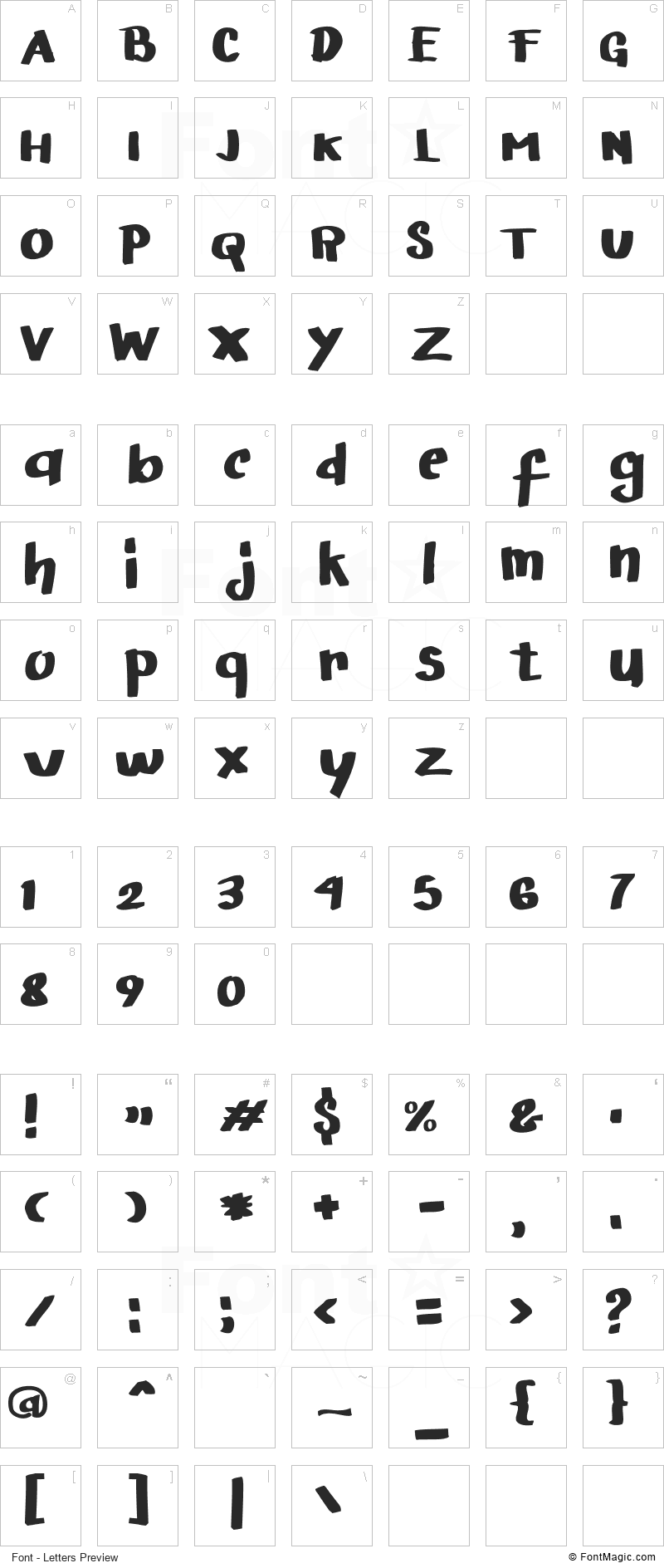 Arigato Font - All Latters Preview Chart