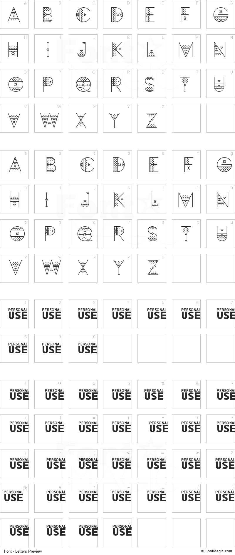 Zilap Africa Font - All Latters Preview Chart