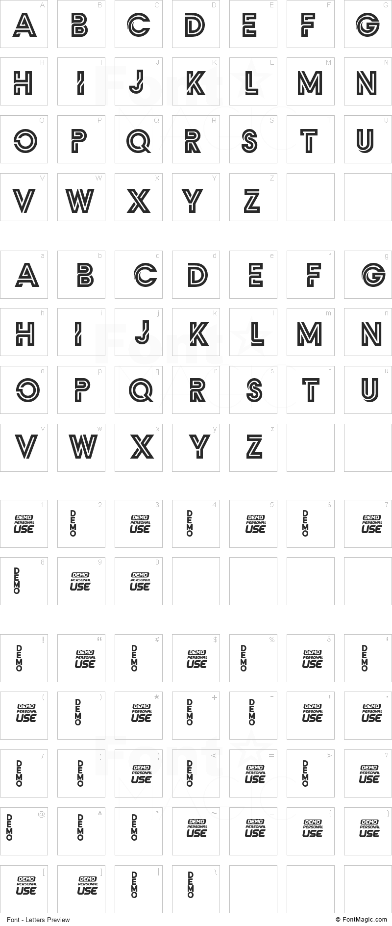 Zilap Monograma Font - All Latters Preview Chart