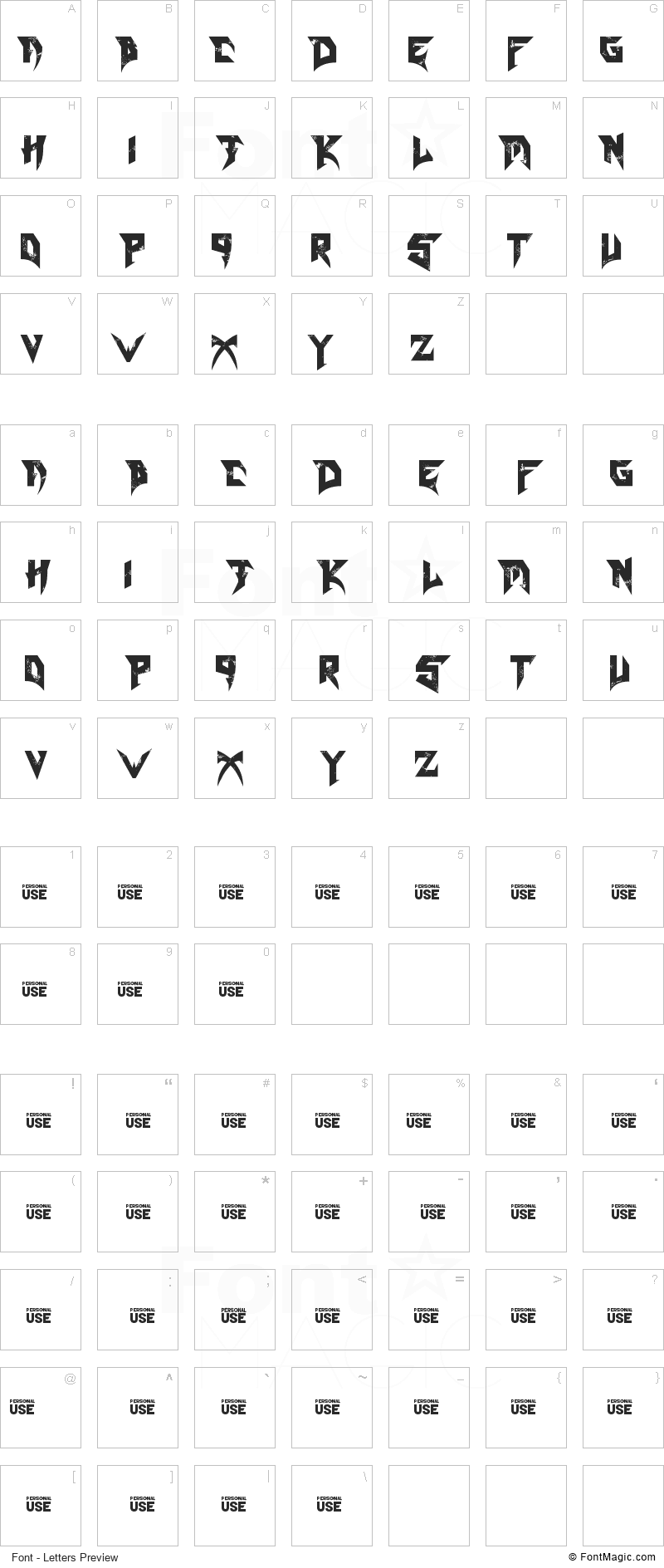Blade Font - All Latters Preview Chart