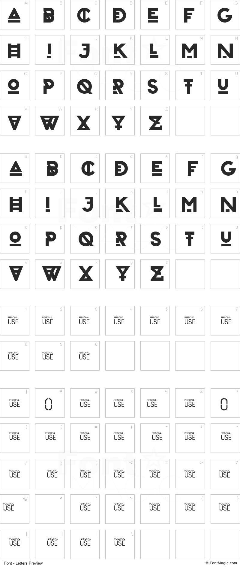 Zilap Urban Font - All Latters Preview Chart